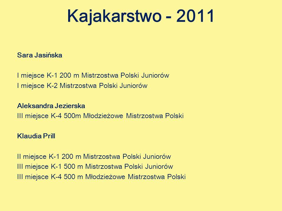 Kajakarstwo - 2011 Sara Jasińska I miejsce K-1 200 m Mistrzostwa Polski Juniorów I miejsce K-2 Mistrzostwa Polski Juniorów Aleksandra Jezierska III miejsce K-4 500m Młodzieżowe Mistrzostwa Polski Klaudia Prill II miejsce K-1 200 m Mistrzostwa Polski Juniorów III miejsce K-1 500 m Mistrzostwa Polski Juniorów III miejsce K-4 500 m Młodzieżowe Mistrzostwa Polski