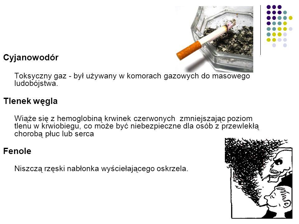 Słowniczek palacza Nikotyna Związek uzależniający pobudza ośrodkowy układ nerwowy, zwiększa liczbę uderzeń serca i podnosi ciśnienie krwi.
