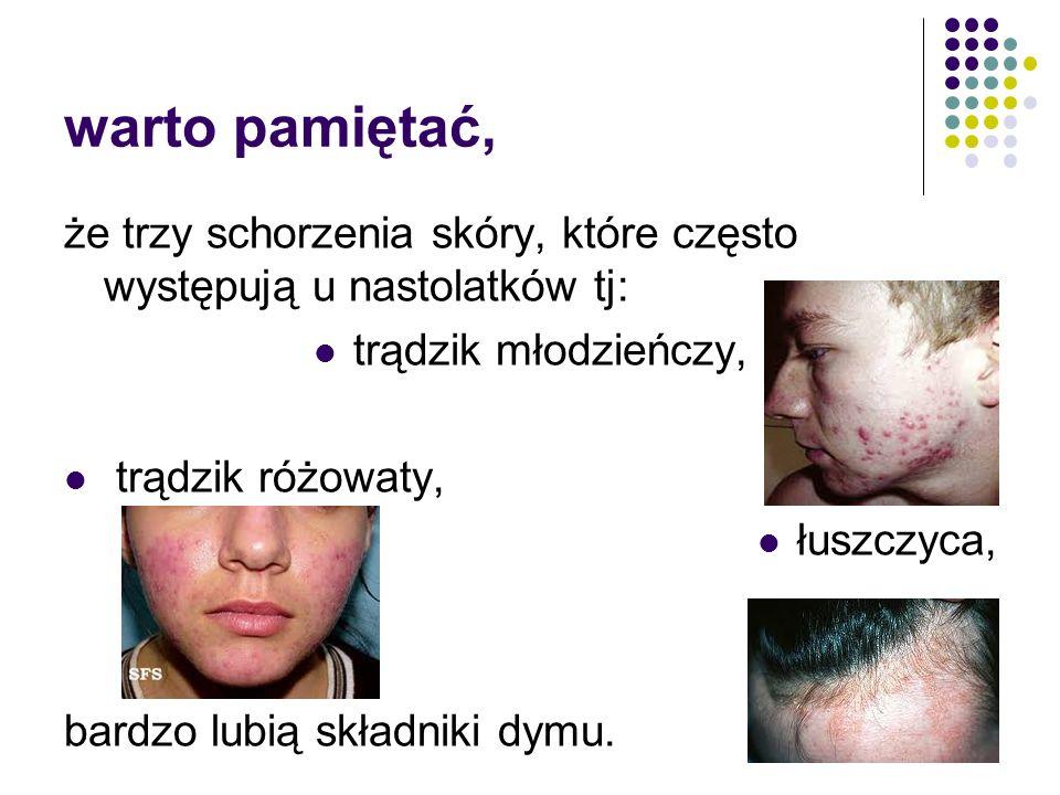 W jaki sposób? wcześniej występujące zmarszczki opóźnienie gojenia ran występowanie tzw. nikotynowej twarzy