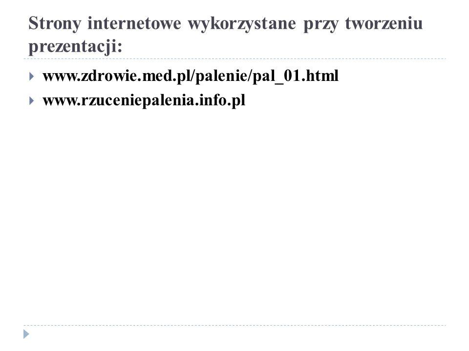 Strony internetowe wykorzystane przy tworzeniu prezentacji: www.zdrowie.med.pl/palenie/pal_01.html www.rzuceniepalenia.info.pl