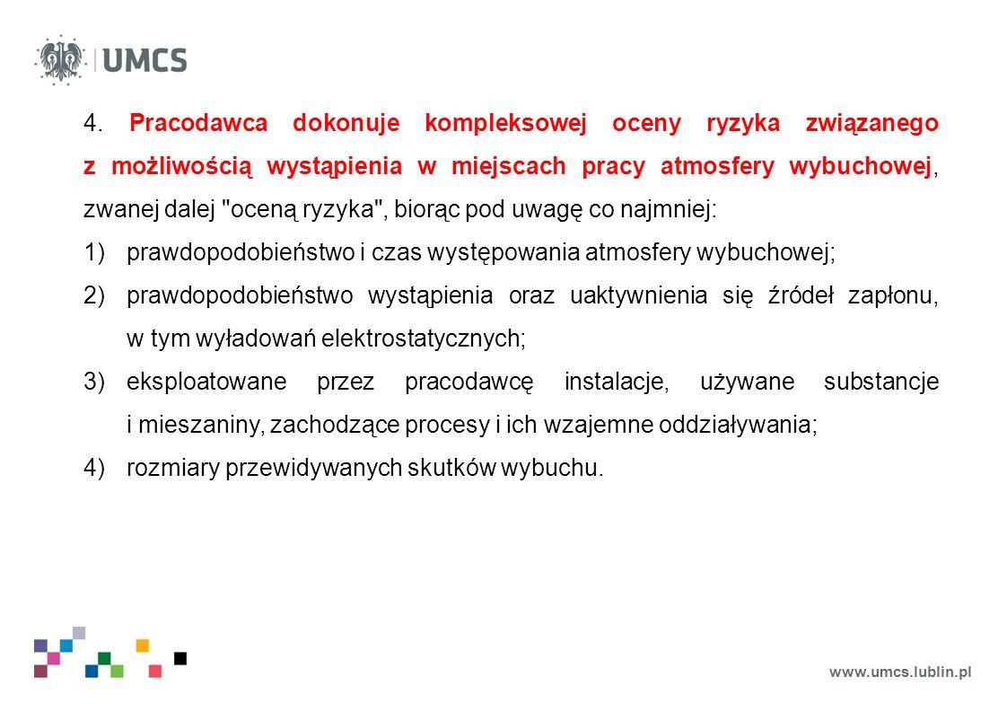 www.umcs.lublin.pl 4. Pracodawca dokonuje kompleksowej oceny ryzyka związanego z możliwością wystąpienia w miejscach pracy atmosfery wybuchowej, zwane