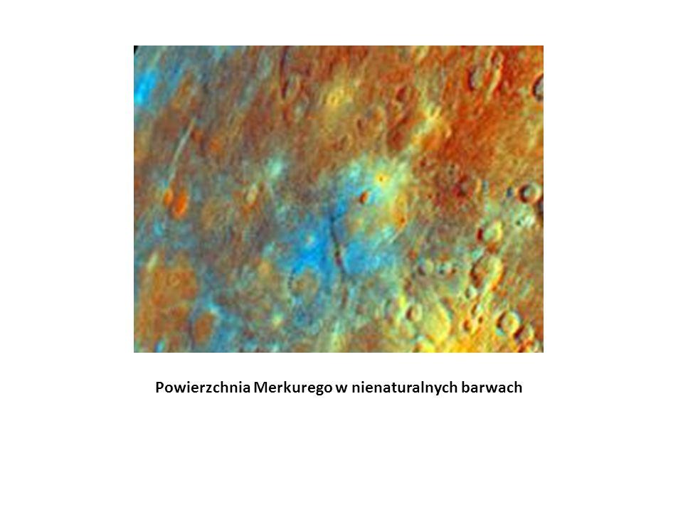 Powierzchnia Merkurego w nienaturalnych barwach