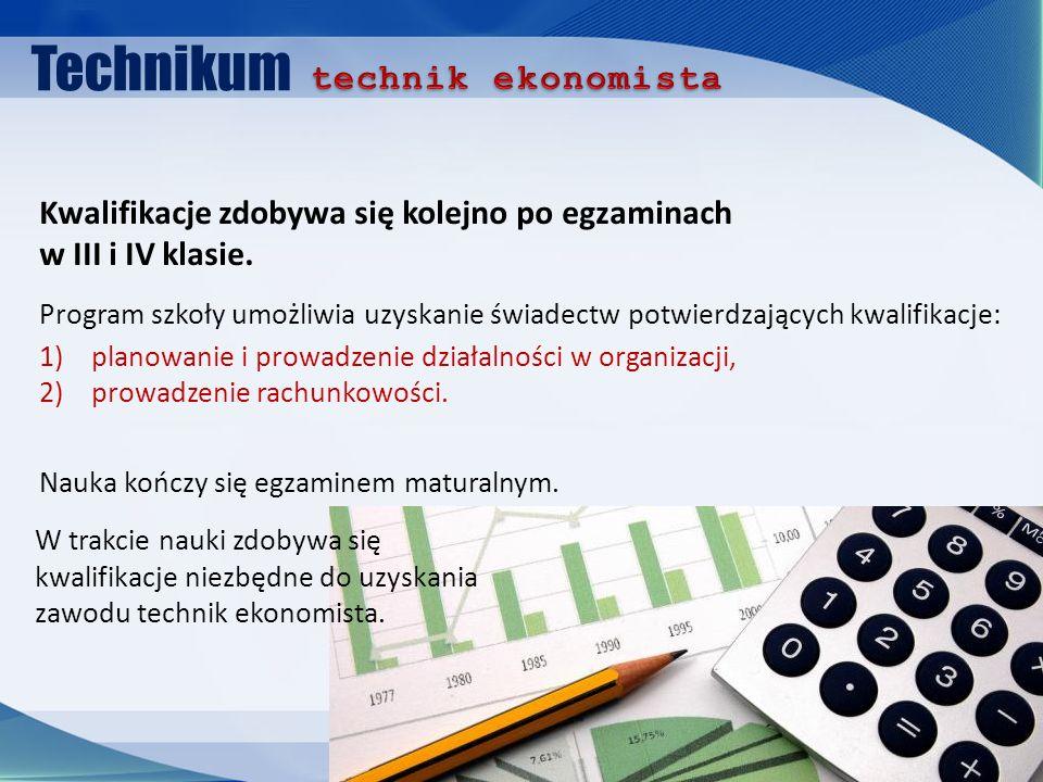 Technikum Program szkoły umożliwia uzyskanie świadectw potwierdzających kwalifikacje: 1)planowanie i prowadzenie działalności w organizacji, 2)prowadzenie rachunkowości.