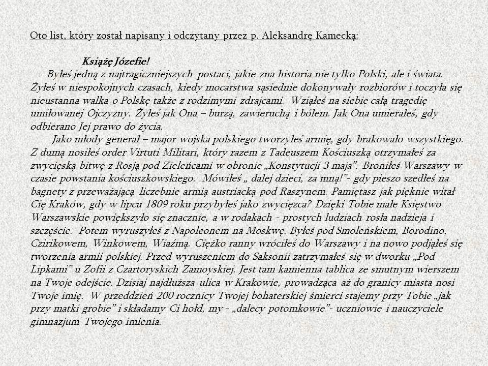 Oto list, który został napisany i odczytany przez p.