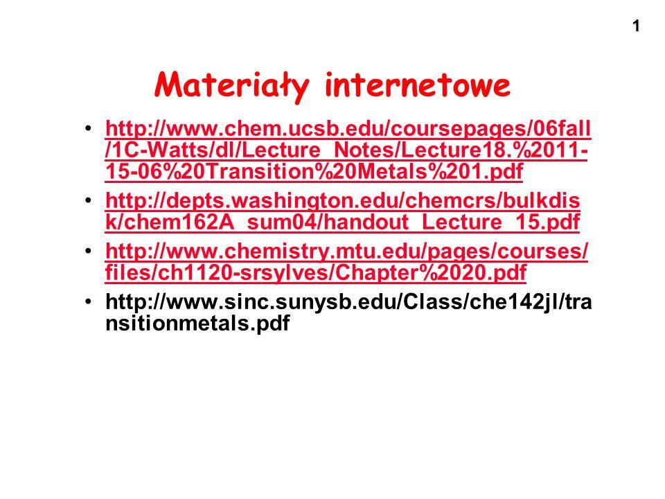 12 Właściwości kwasowo - zasadowe pierwiastków d-elektronowych - Niższe stopnie utlenienia - właściwości zasadowe - Wyższe stopnie utlenienia - właściwości kwaśne - Pośrednie stopnie utlenienia - właściwości amfoteryczne - Niższe stopnie utlenienia - właściwości zasadowe - Wyższe stopnie utlenienia - właściwości kwaśne - Pośrednie stopnie utlenienia - właściwości amfoteryczne
