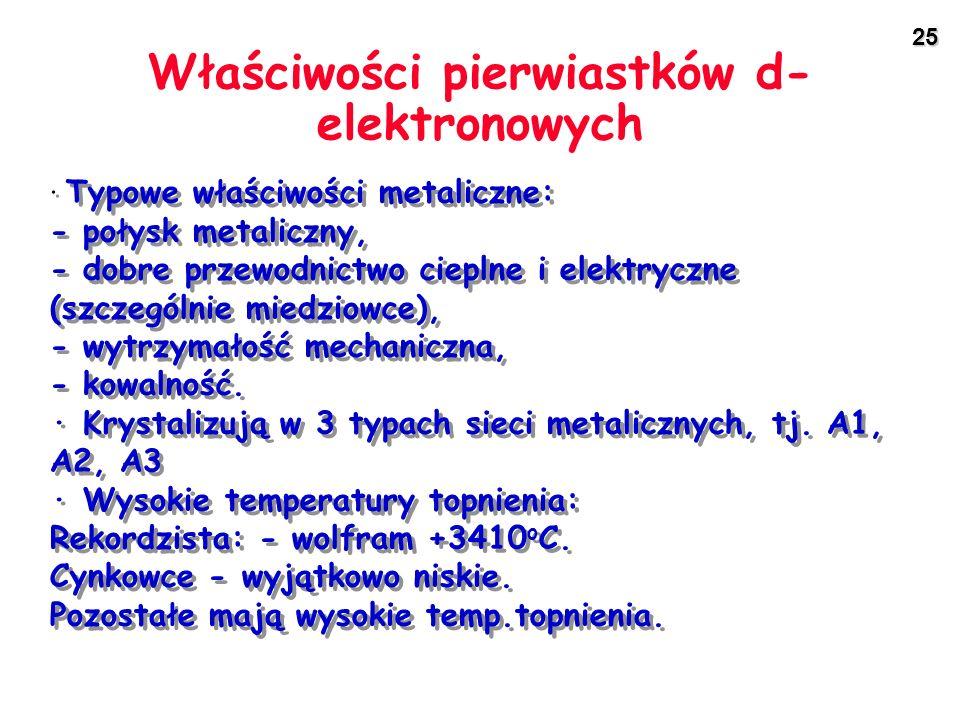 25 Właściwości pierwiastków d- elektronowych · Typowe właściwości metaliczne: - połysk metaliczny, - dobre przewodnictwo cieplne i elektryczne (szczeg