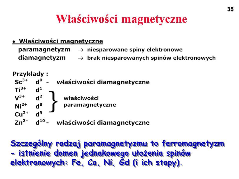 35 Właściwości magnetyczne Szczególny rodzaj paramagnetyzmu to ferromagnetyzm - istnienie domen jednakowego ułożenia spinów elektronowych: Fe, Co, Ni,