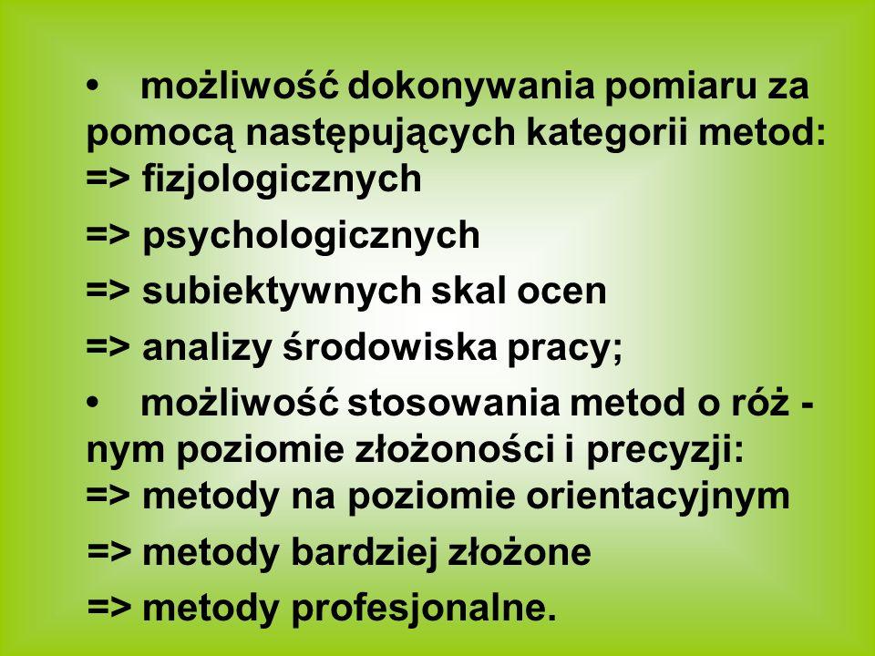 możliwość dokonywania pomiaru za pomocą następujących kategorii metod: => fizjologicznych => psychologicznych => subiektywnych skal ocen => analizy śr