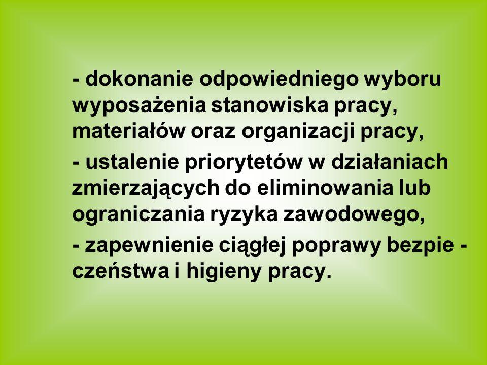 - dokonanie odpowiedniego wyboru wyposażenia stanowiska pracy, materiałów oraz organizacji pracy, - ustalenie priorytetów w działaniach zmierzających