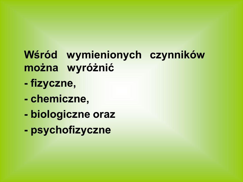 Wśród wymienionych czynników można wyróżnić - fizyczne, - chemiczne, - biologiczne oraz - psychofizyczne