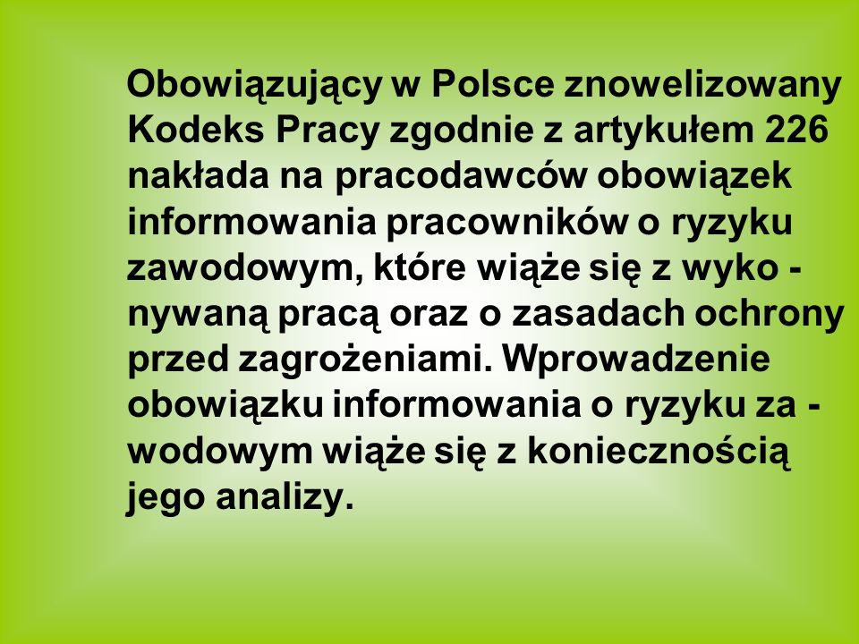 Obowiązujący w Polsce znowelizowany Kodeks Pracy zgodnie z artykułem 226 nakłada na pracodawców obowiązek informowania pracowników o ryzyku zawodowym,