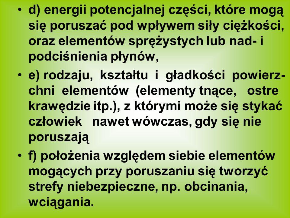 d) energii potencjalnej części, które mogą się poruszać pod wpływem siły ciężkości, oraz elementów sprężystych lub nad- i podciśnienia płynów, e) rodz