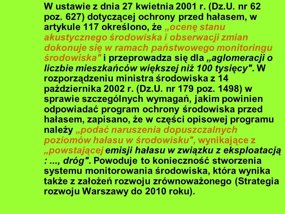 W ustawie z dnia 27 kwietnia 2001 r. (Dz.U. nr 62 poz. 627) dotyczącej ochrony przed hałasem, w artykule 117 określono, że ocenę stanu akustycznego śr