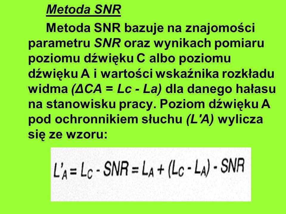 Metoda SNR Metoda SNR bazuje na znajomości parametru SNR oraz wynikach pomiaru poziomu dźwięku C albo poziomu dźwięku A i wartości wskaźnika rozkładu widma (ΔCA = Lc - La) dla danego hałasu na stanowisku pracy.