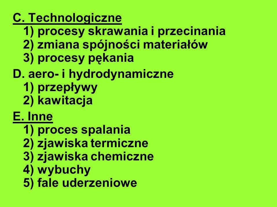 C. Technologiczne 1) procesy skrawania i przecinania 2) zmiana spójności materiałów 3) procesy pękania D. aero- i hydrodynamiczne 1) przepływy 2) kawi