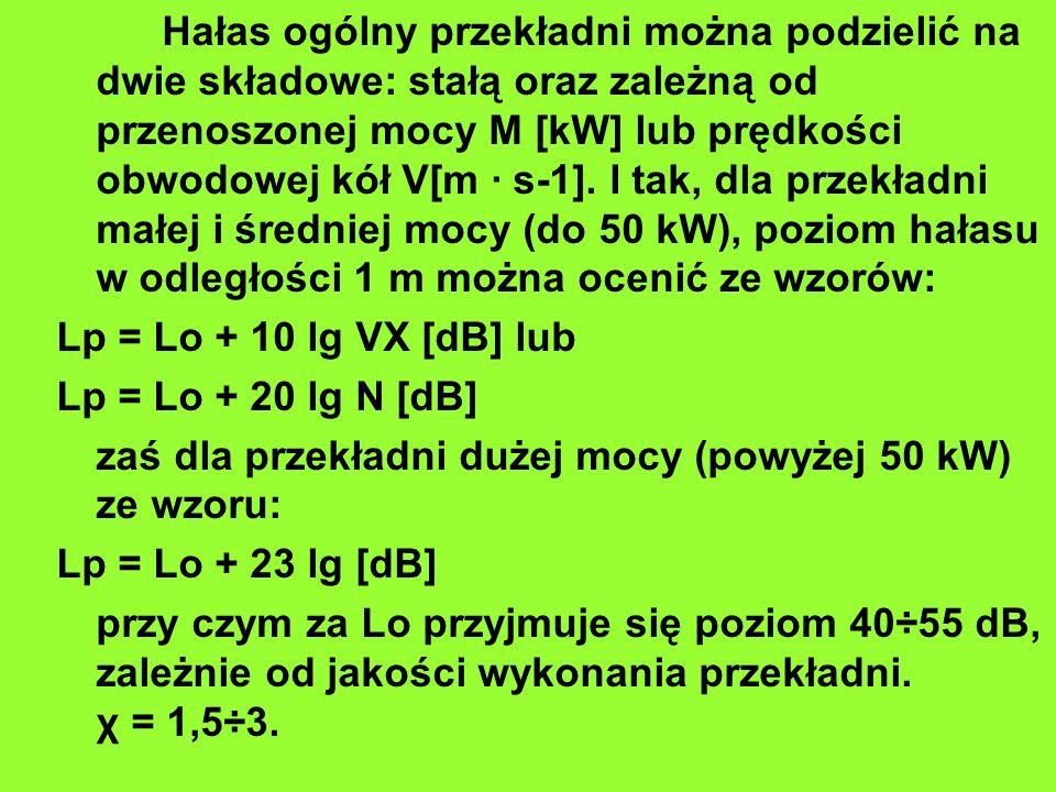 Hałas ogólny przekładni można podzielić na dwie składowe: stałą oraz zależną od przenoszonej mocy M [kW] lub prędkości obwodowej kół V[m · s-1]. I tak