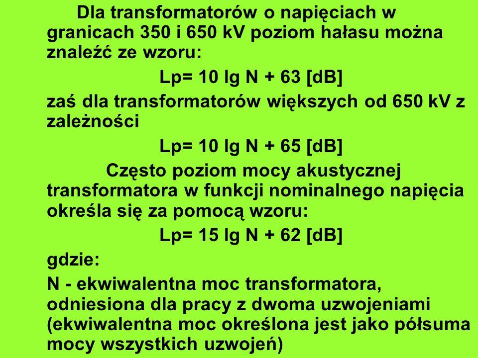 Dla transformatorów o napięciach w granicach 350 i 650 kV poziom hałasu można znaleźć ze wzoru: Lp= 10 lg N + 63 [dB] zaś dla transformatorów większyc