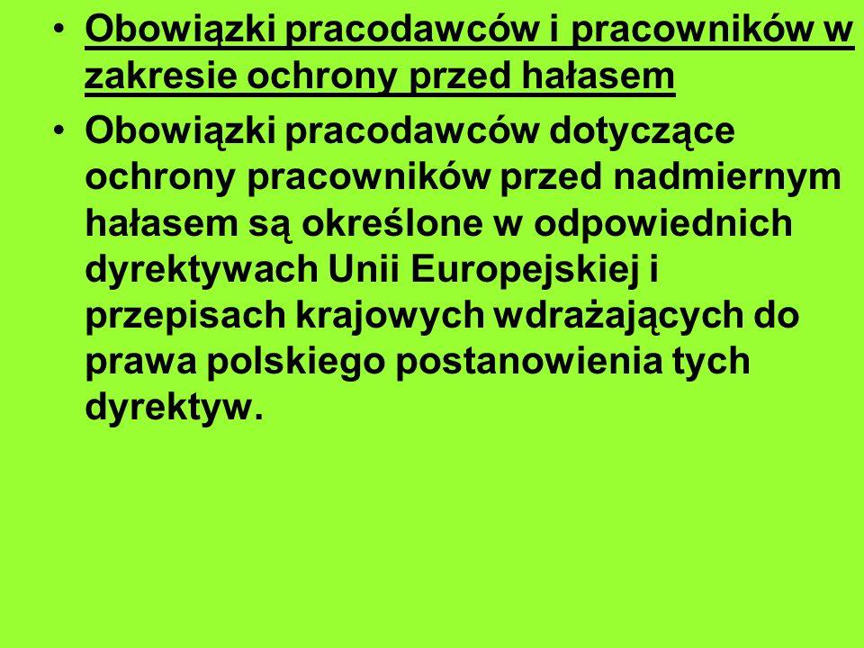 Obowiązki pracodawców i pracowników w zakresie ochrony przed hałasem Obowiązki pracodawców dotyczące ochrony pracowników przed nadmiernym hałasem są określone w odpowiednich dyrektywach Unii Europejskiej i przepisach krajowych wdrażających do prawa polskiego postanowienia tych dyrektyw.