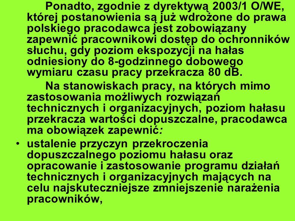 Ponadto, zgodnie z dyrektywą 2003/1 O/WE, której postanowienia są już wdrożone do prawa polskiego pracodawca jest zobowiązany zapewnić pracownikowi do