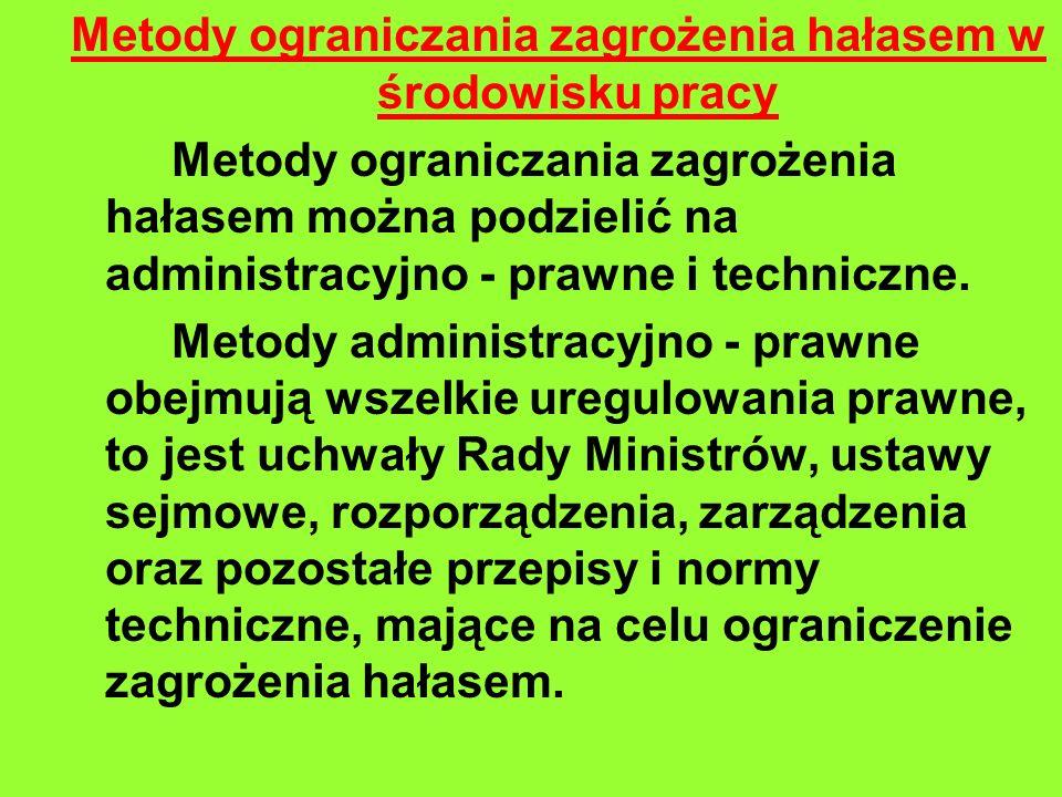 Metody ograniczania zagrożenia hałasem w środowisku pracy Metody ograniczania zagrożenia hałasem można podzielić na administracyjno - prawne i techniczne.