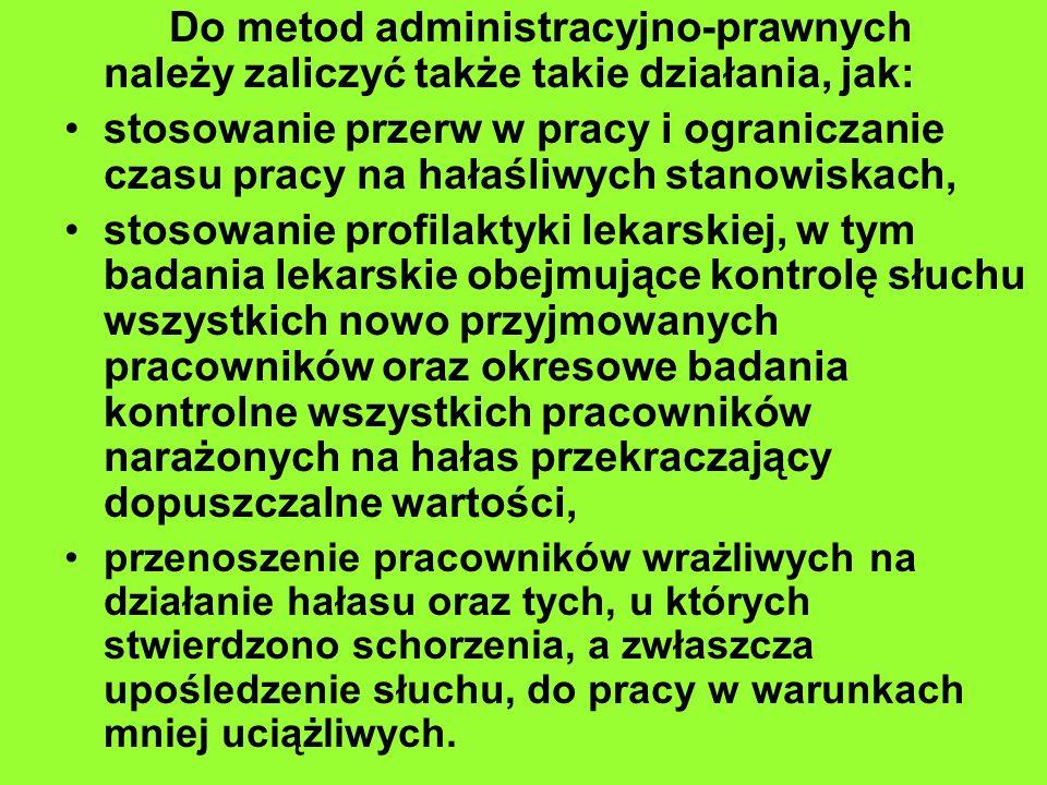 Do metod administracyjno-prawnych należy zaliczyć także takie działania, jak: stosowanie przerw w pracy i ograniczanie czasu pracy na hałaśliwych stan