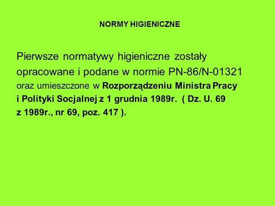 NORMY HIGIENICZNE Pierwsze normatywy higieniczne zostały opracowane i podane w normie PN-86/N-01321 oraz umieszczone w Rozporządzeniu Ministra Pracy i Polityki Socjalnej z 1 grudnia 1989r.