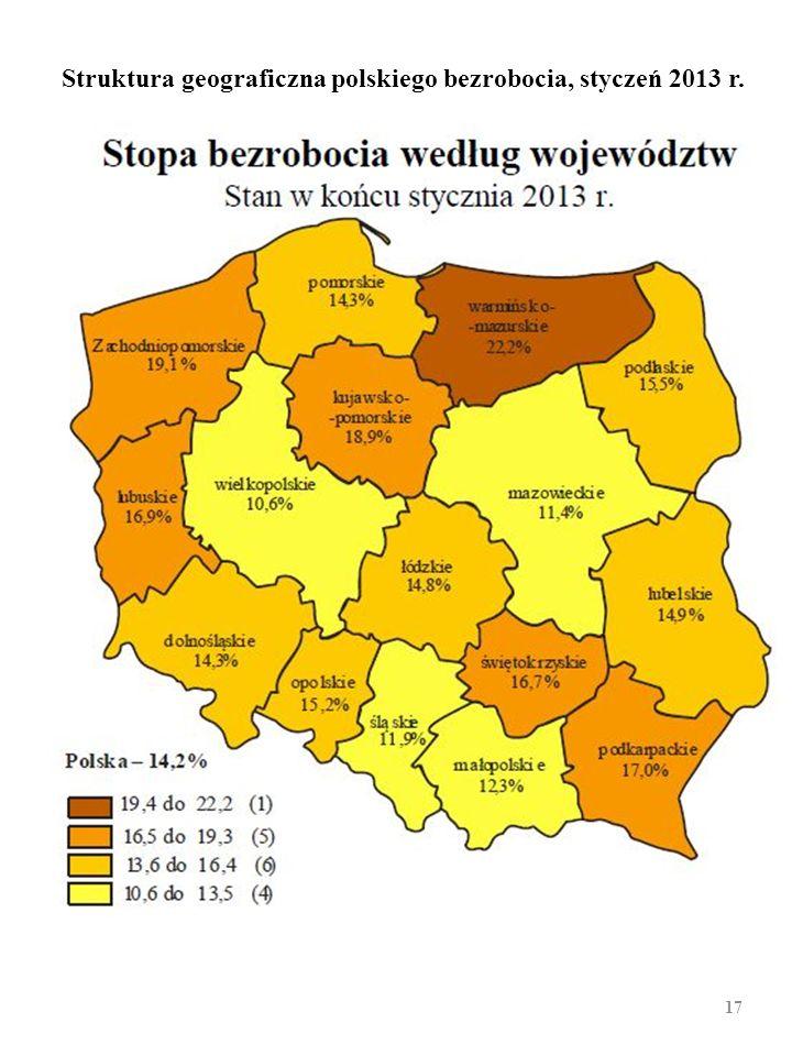 STRUKTURA GEOGRAFICZNA polskiego bezrobocia [bezro- bocie rejestrowane, koniec XII 2010 r.; średnia dla Polski 12,3%; (2:1). Województwo Stopa bezro-