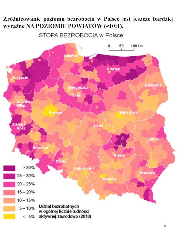 Struktura geograficzna polskiego bezrobocia, styczeń 2013 r. 17