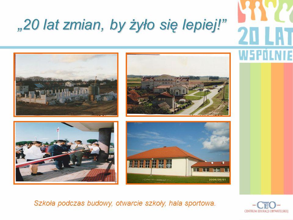 20 lat zmian, by żyło się lepiej! Szkoła podczas budowy, otwarcie szkoły, hala sportowa.