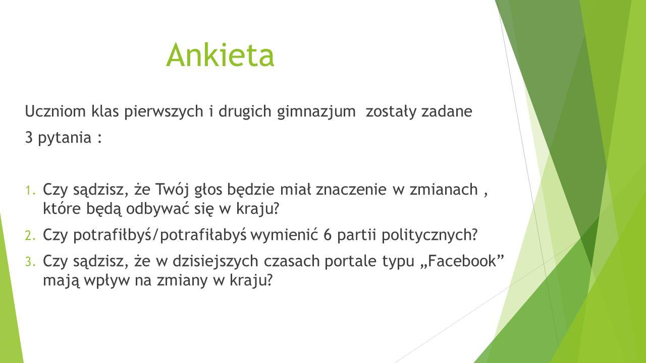 Ankieta Uczniom klas pierwszych i drugich gimnazjum zostały zadane 3 pytania : 1.