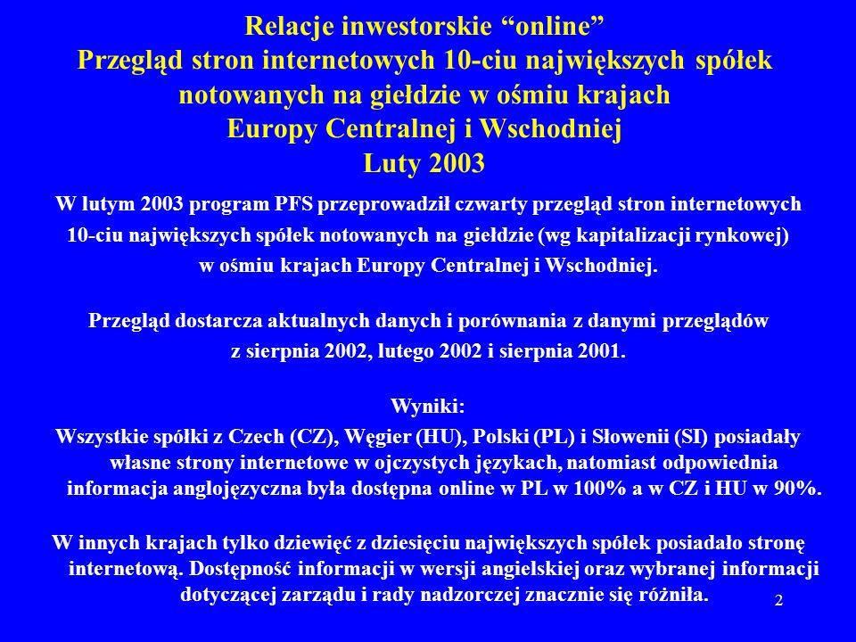 2 W lutym 2003 program PFS przeprowadził czwarty przegląd stron internetowych 10-ciu największych spółek notowanych na giełdzie (wg kapitalizacji rynkowej) w ośmiu krajach Europy Centralnej i Wschodniej.