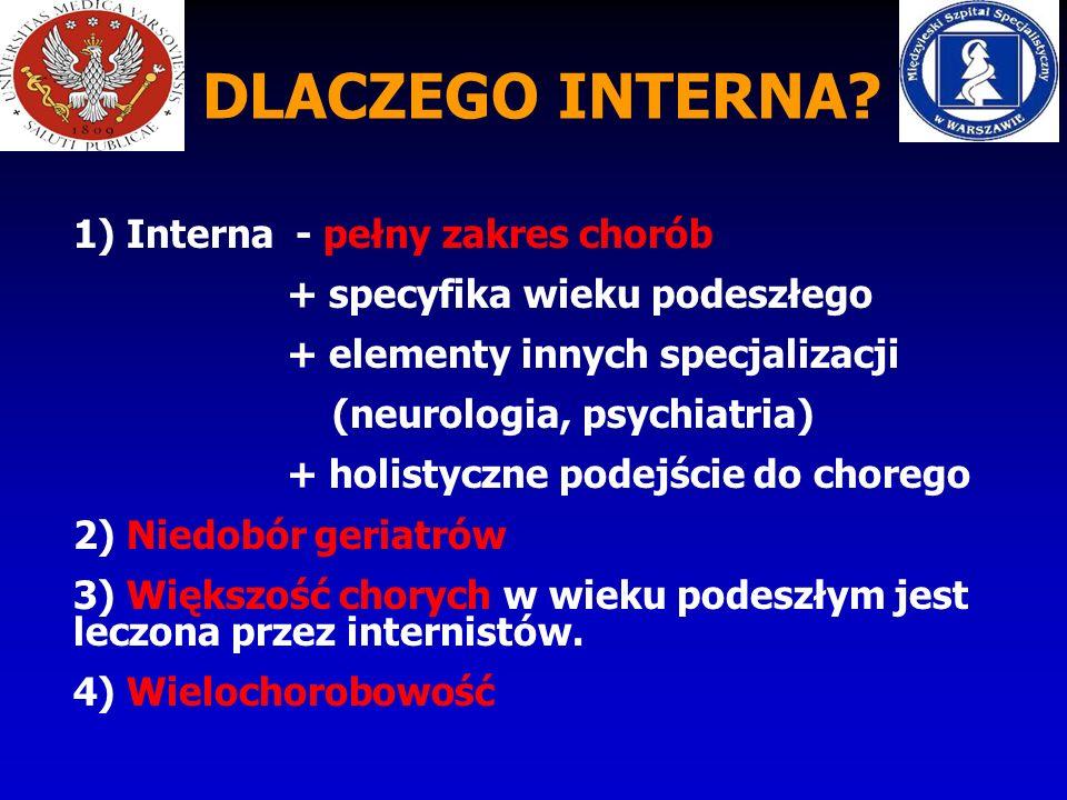 DLACZEGO INTERNA? 1) Interna - pełny zakres chorób + specyfika wieku podeszłego + elementy innych specjalizacji (neurologia, psychiatria) + holistyczn