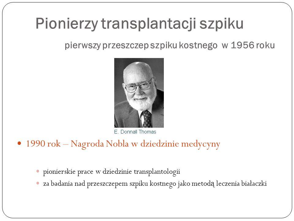 Pionierzy transplantacji szpiku pierwszy przeszczep szpiku kostnego w 1956 roku 1990 rok – Nagroda Nobla w dziedzinie medycyny pionierskie prace w dzi