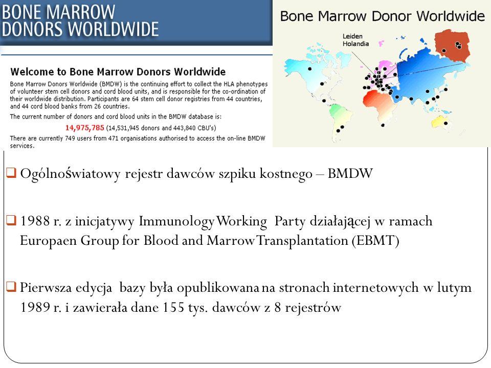 Ogólno ś wiatowy rejestr dawców szpiku kostnego – BMDW 1988 r. z inicjatywy Immunology Working Party działaj ą cej w ramach Europaen Group for Blood a