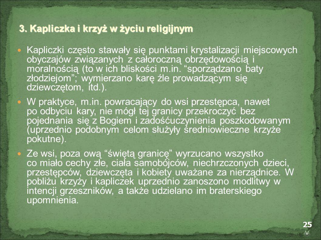 25 Kapliczki często stawały się punktami krystalizacji miejscowych obyczajów związanych z całoroczną obrzędowością i moralnością (to w ich bliskości m