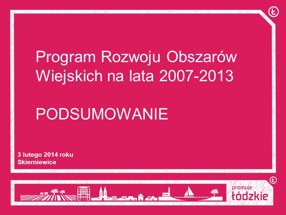 Program Rozwoju Obszarów Wiejskich na lata 2007-2013 PODSUMOWANIE 3 lutego 2014 roku Skierniewice