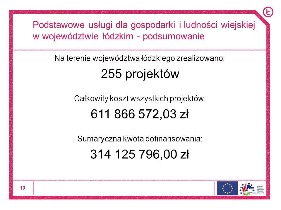 10 Podstawowe usługi dla gospodarki i ludności wiejskiej w województwie łódzkim - podsumowanie Na terenie województwa łódzkiego zrealizowano: 255 projektów Całkowity koszt wszystkich projektów: 611 866 572,03 zł Sumaryczna kwota dofinansowania: 314 125 796,00 zł