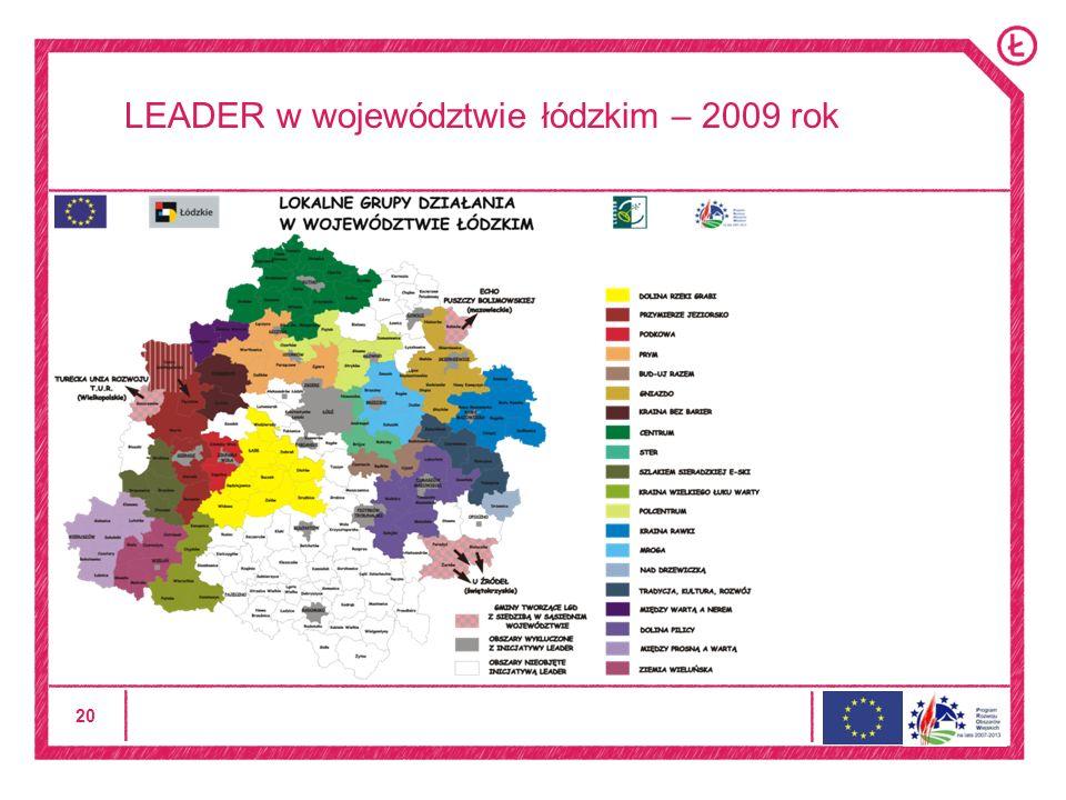 20 LEADER w województwie łódzkim – 2009 rok