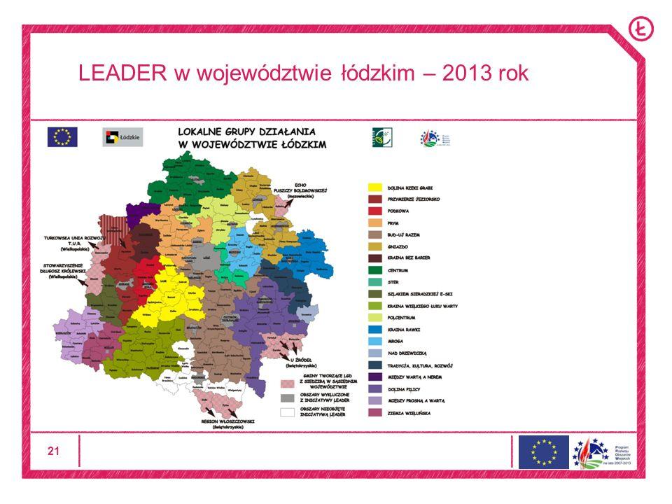 21 LEADER w województwie łódzkim – 2013 rok