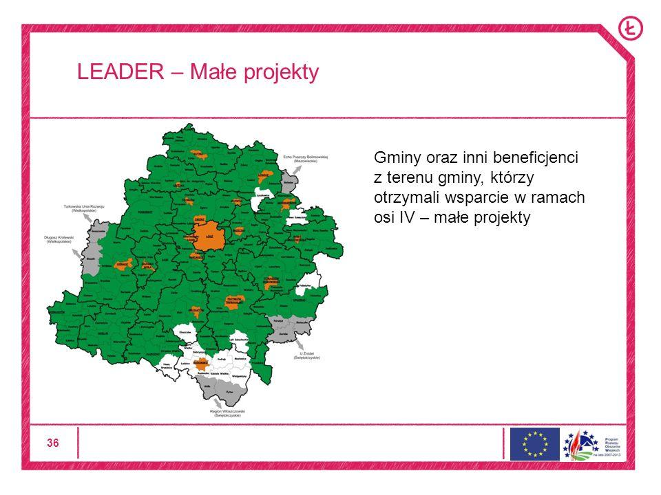 36 LEADER – Małe projekty Gminy oraz inni beneficjenci z terenu gminy, którzy otrzymali wsparcie w ramach osi IV – małe projekty