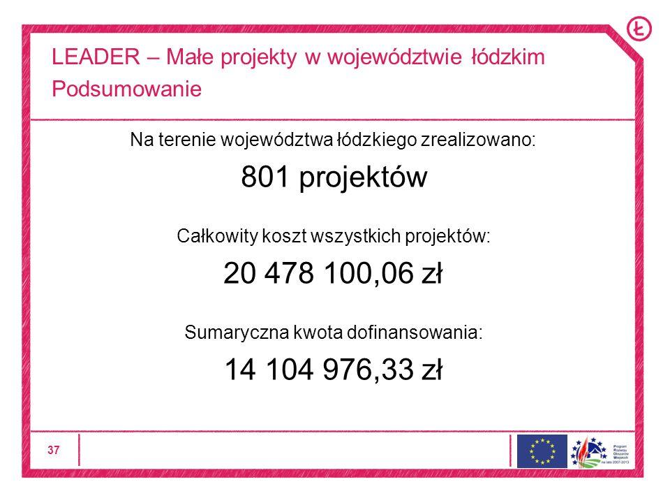 37 LEADER – Małe projekty w województwie łódzkim Podsumowanie Na terenie województwa łódzkiego zrealizowano: 801 projektów Całkowity koszt wszystkich projektów: 20 478 100,06 zł Sumaryczna kwota dofinansowania: 14 104 976,33 zł