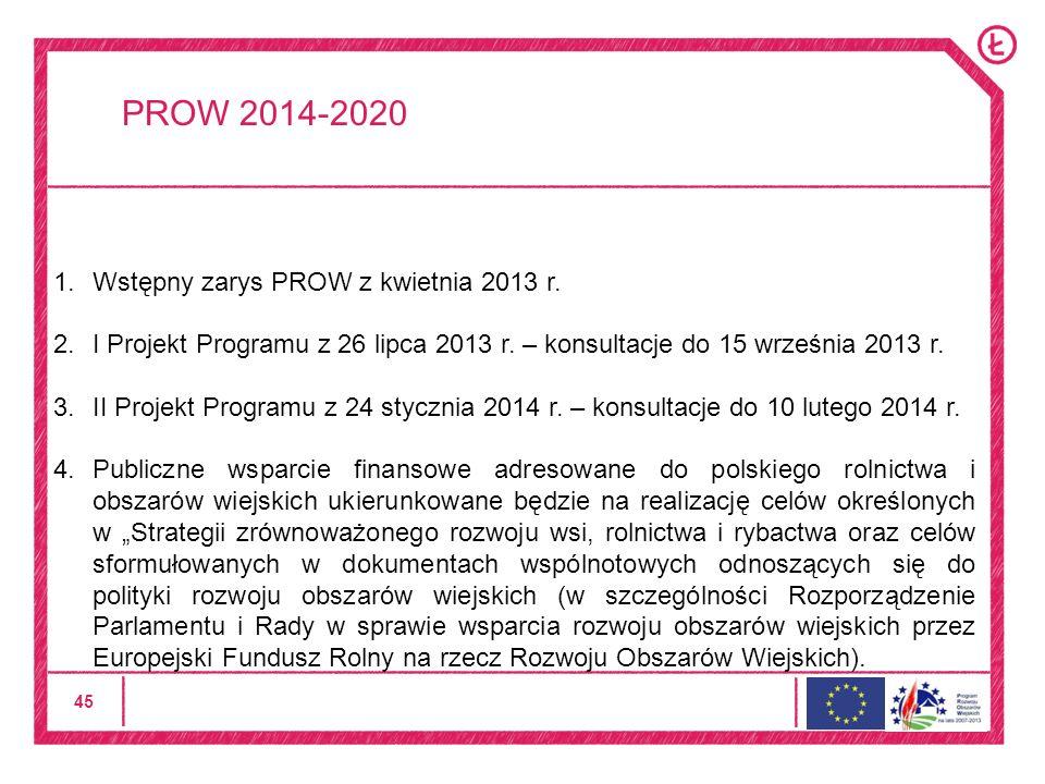 45 PROW 2014-2020 1.Wstępny zarys PROW z kwietnia 2013 r.