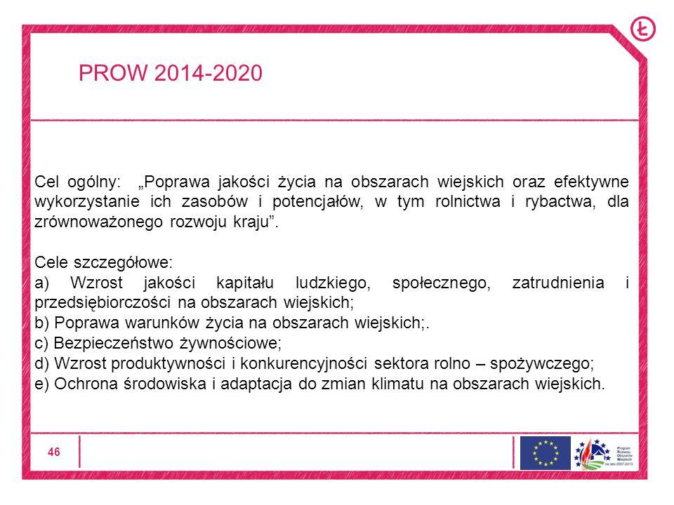 46 PROW 2014-2020 Cel ogólny: Poprawa jakości życia na obszarach wiejskich oraz efektywne wykorzystanie ich zasobów i potencjałów, w tym rolnictwa i rybactwa, dla zrównoważonego rozwoju kraju.