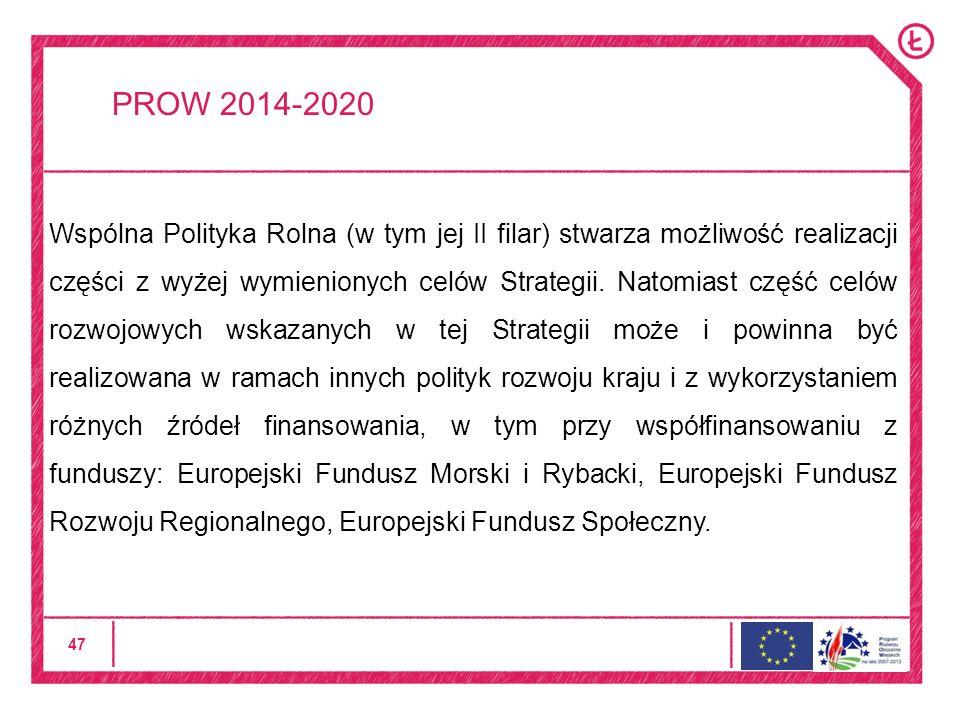 47 PROW 2014-2020 Wspólna Polityka Rolna (w tym jej II filar) stwarza możliwość realizacji części z wyżej wymienionych celów Strategii.