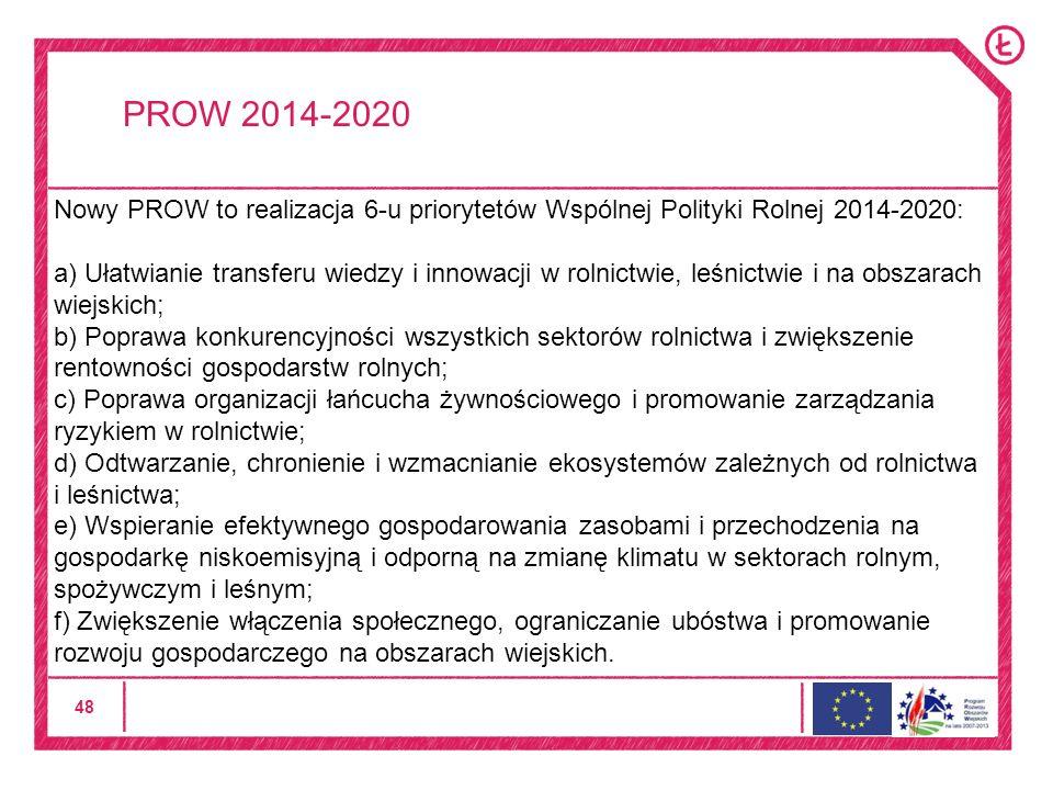 48 PROW 2014-2020 Nowy PROW to realizacja 6-u priorytetów Wspólnej Polityki Rolnej 2014-2020: a) Ułatwianie transferu wiedzy i innowacji w rolnictwie, leśnictwie i na obszarach wiejskich; b) Poprawa konkurencyjności wszystkich sektorów rolnictwa i zwiększenie rentowności gospodarstw rolnych; c) Poprawa organizacji łańcucha żywnościowego i promowanie zarządzania ryzykiem w rolnictwie; d) Odtwarzanie, chronienie i wzmacnianie ekosystemów zależnych od rolnictwa i leśnictwa; e) Wspieranie efektywnego gospodarowania zasobami i przechodzenia na gospodarkę niskoemisyjną i odporną na zmianę klimatu w sektorach rolnym, spożywczym i leśnym; f) Zwiększenie włączenia społecznego, ograniczanie ubóstwa i promowanie rozwoju gospodarczego na obszarach wiejskich.