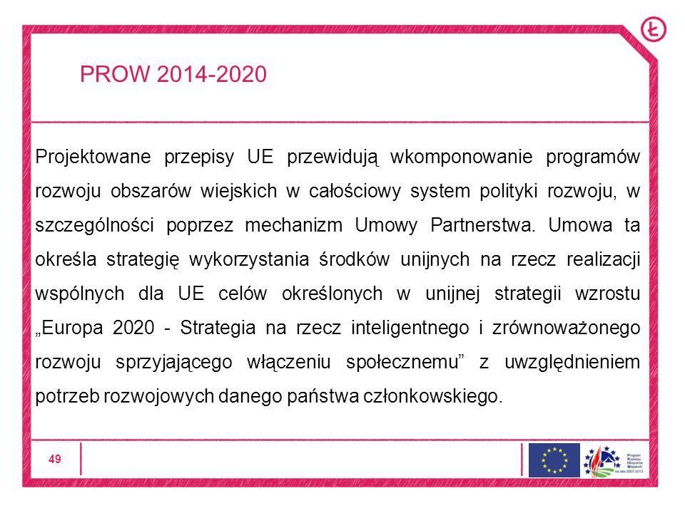 49 PROW 2014-2020 Projektowane przepisy UE przewidują wkomponowanie programów rozwoju obszarów wiejskich w całościowy system polityki rozwoju, w szczególności poprzez mechanizm Umowy Partnerstwa.