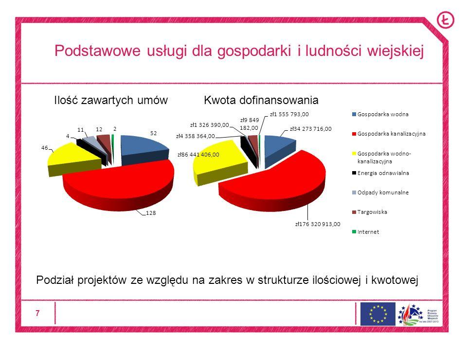 7 Podstawowe usługi dla gospodarki i ludności wiejskiej Podział projektów ze względu na zakres w strukturze ilościowej i kwotowej Ilość zawartych umów Kwota dofinansowania