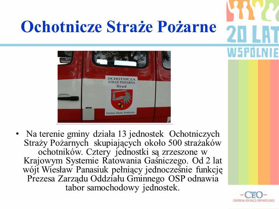 Ochotnicze Straże Pożarne Na terenie gminy działa 13 jednostek Ochotniczych Straży Pożarnych skupiających około 500 strażaków ochotników.