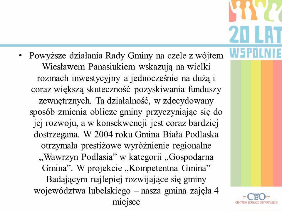 Powyższe działania Rady Gminy na czele z wójtem Wiesławem Panasiukiem wskazują na wielki rozmach inwestycyjny a jednocześnie na dużą i coraz większą skuteczność pozyskiwania funduszy zewnętrznych.