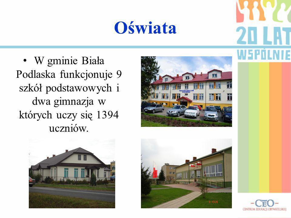 Oświata W gminie Biała Podlaska funkcjonuje 9 szkół podstawowych i dwa gimnazja w których uczy się 1394 uczniów.